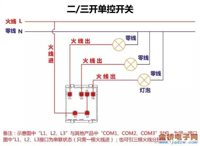 开关接线原理图_单控双控开关接线图_燃气热水器安装示意图